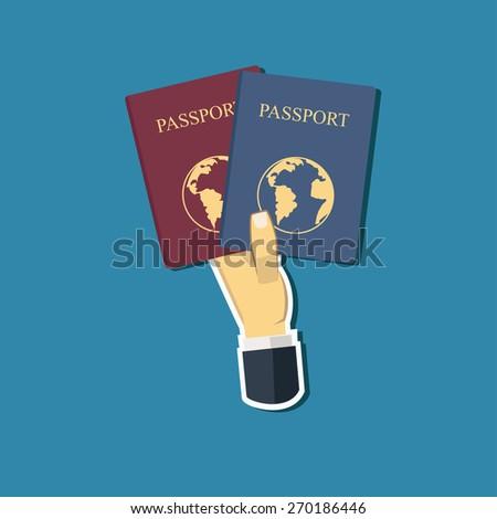 Hand and passport / flat design / illustration / vector - stock vector