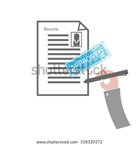 Hand and pen signs approved resume - stock vector
