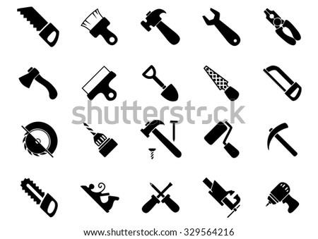 Hand and power tools black icons set with hammers, saws, axe, shovel, screwdrivers, wrench, pliers, drills, paintbrush and roller, spatula, rasp, bench vice, pickaxe and jack plane - stock vector