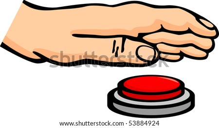 hand and push button - stock vector