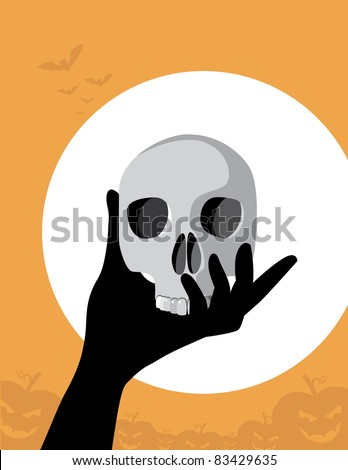 Hand and Skull A gloved hand holds up a skull in the moonlight. Vector illustration. Grouped for easy editing.
