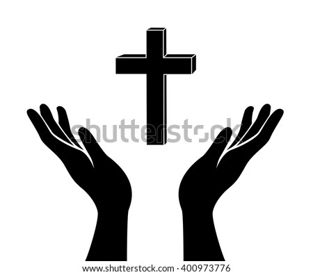 hand and the Jesus Christ  cross sign - stock vector
