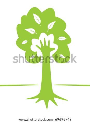 Hand and tree as green environment conceptual design. Vector EPS illustration. - stock vector
