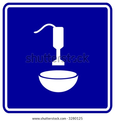 hand blender and bowl mixing sign