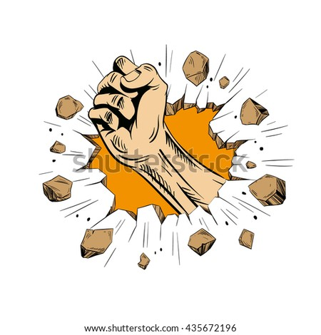 Hand brakes the wall. Comics style. Hand drawn vector illustration