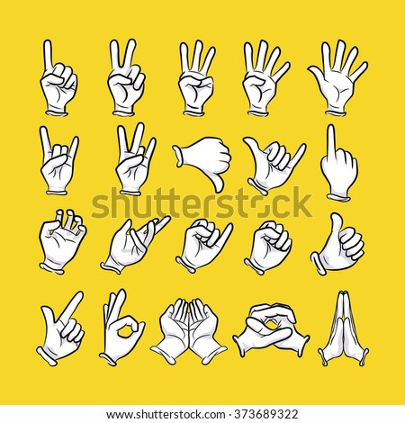 Hand cartoon set with various gesture isolated on yellow background.