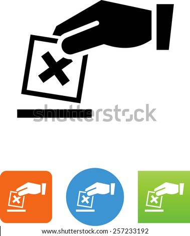 Hand casting a vote symbol. Editable vector icons for video, mobile apps, Web sites and print projects.   - stock vector