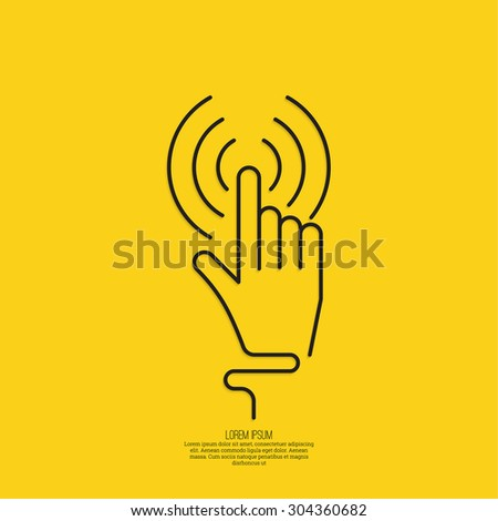 hand click. Hand cursor sign. minimal, outline. yellow - stock vector