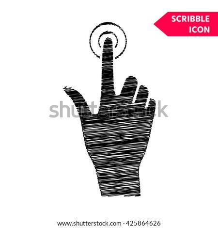 Hand click icon. Scribble icon for you design. - stock vector