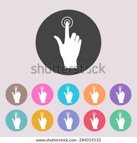 Hand click icon. Set of colored icons. - stock vector