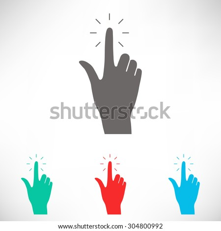 Hand click icon. Set of varicolored icons. - stock vector