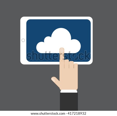 Hand click on a cloud at tablet screen, vector illustration - stock vector