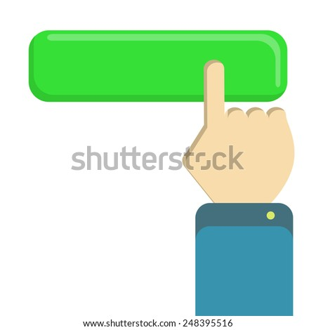 Hand clicking button. Index finger of a male hand clicking a green button. White background. Isolated. - stock vector