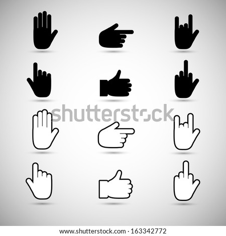 Hand collection, different hands, gestures, signals and signs. Vector icon set - stock vector