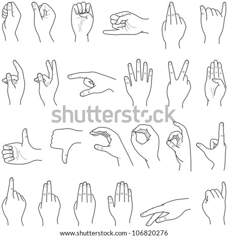 Hand collection - vector line illustration - stock vector