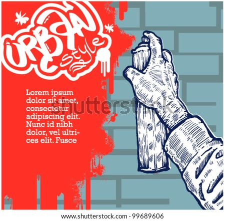 hand coloring graffiti for message on the brick wall - stock vector