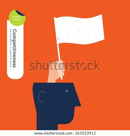 Hand coming out of a head with a give up flag.Vector illustration Eps10 file. Global colors. Text and Texture in separate layers. - stock vector