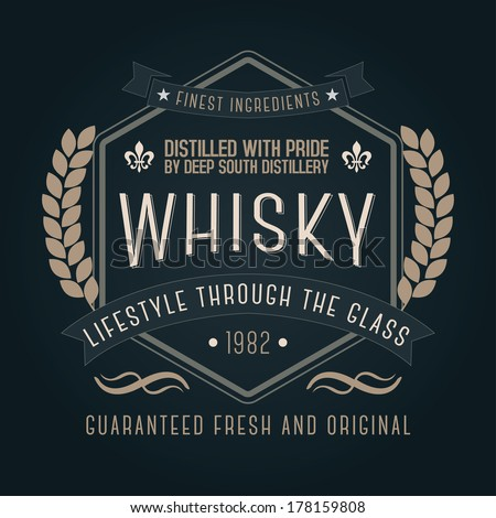 Hand Crafted Whisky Lettering Label Packaging Stock Vector ...