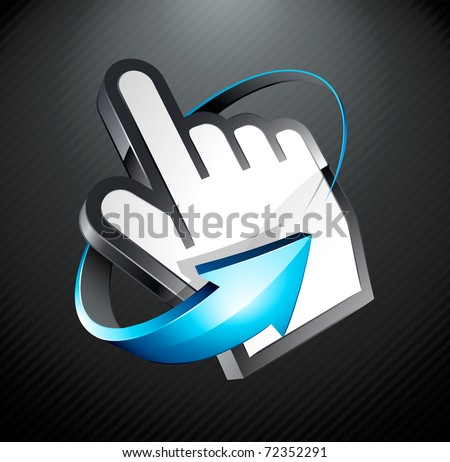 hand cursor and blue arrow - stock vector