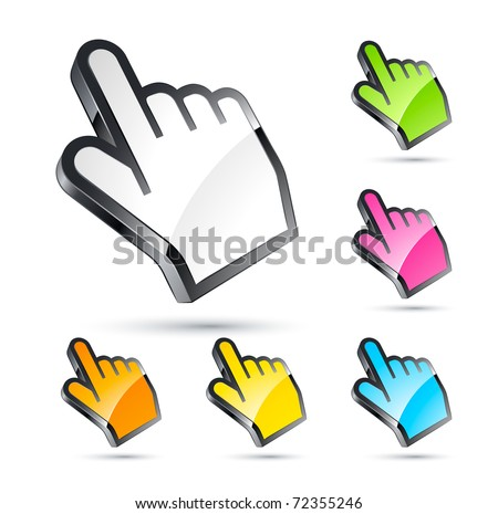 hand cursor set, - stock vector
