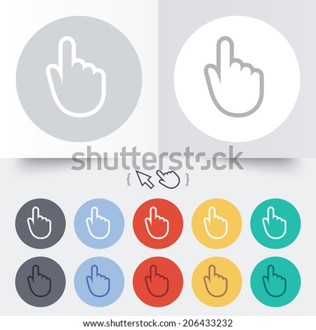 Hand cursor sign icon. Hand pointer symbol. Round 12 circle buttons. Shadow. Hand cursor pointer. Vector