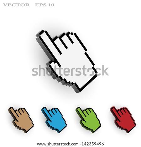 Hand cursor. Vector set - stock vector