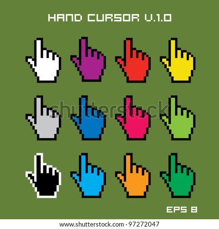 Hand Cursors - stock vector