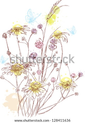 hand darawn bouquet of field flowers with colorful splashes