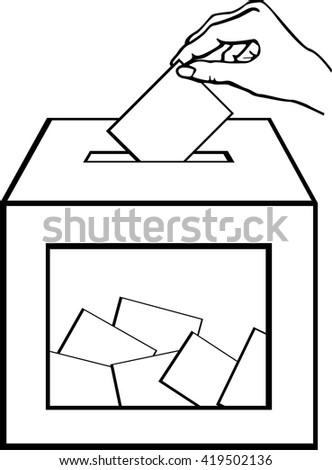 hand depositing a ballot - stock vector