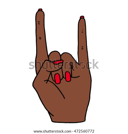 Hand design objects on white background. Rock background art vector illustration isolated. Hand in rock n roll sign icon background.