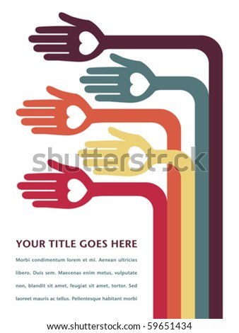 Hand design with text space. - stock vector