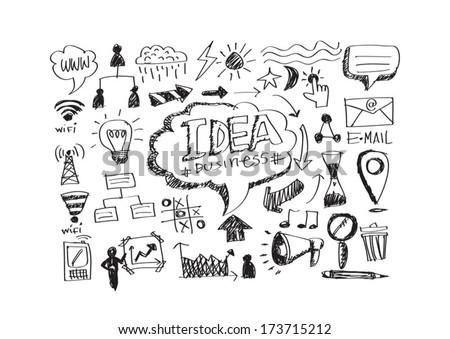 hand doodle Business doodles - stock vector