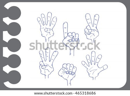 hand doodle set on white paper