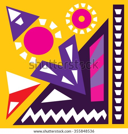 Hand draw acrylic painting composition. Bright background. Ethnic African or Mexican motive. Colorful template with geometric shapes. Abstract art digital painting. Vector illustration. - stock vector