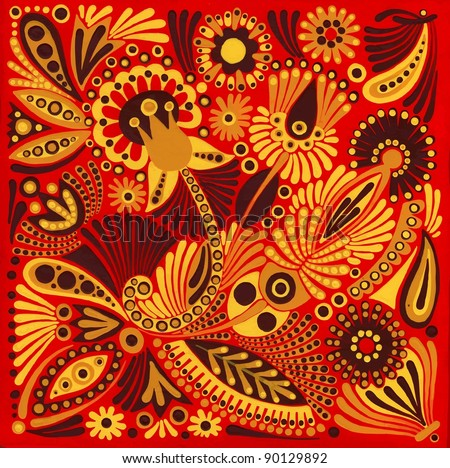 hand draw acrylic painting flower vector ethnic design. Ukrainian traditional painting