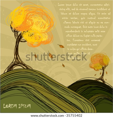 Hand-draw autumn background design - stock vector