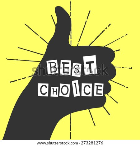 hand draw best choice element. Vector of vintage sunburst and hand. Illustration thumb up - stock vector
