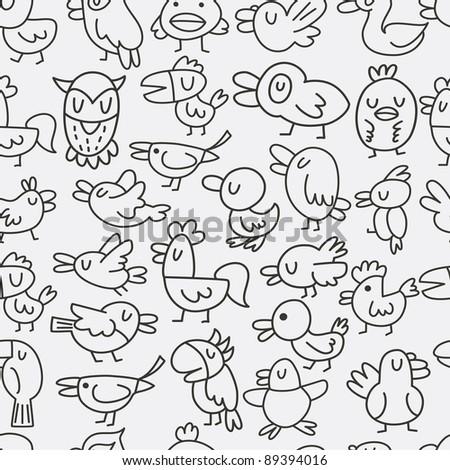 hand draw bird seamless pattern - stock vector
