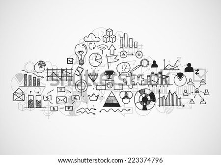 Hand draw buseness sketches doodle infographic elements, chart graph. Concept bank cloud data finance analytics earnings - stock vector