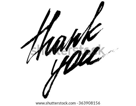 Hand draw calligraphy thank you - stock vector