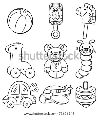 hand draw cartoon baby toy icon - stock vector