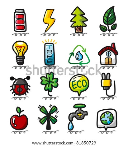 hand draw cartoon eco icons - stock vector