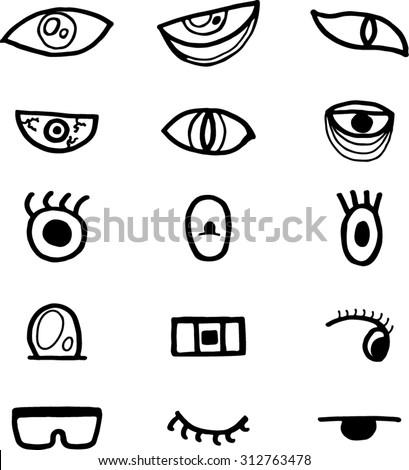 Hand Draw Cartoon Eyes Icon