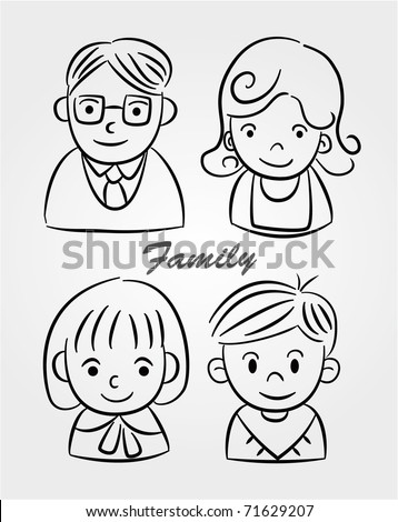 hand draw cartoon family icon - stock vector