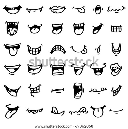 hand draw cartoon mouth icon - stock vector