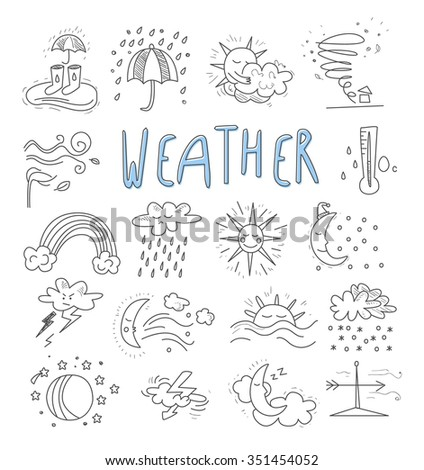 Hand draw cartoon weather events doodle icons set