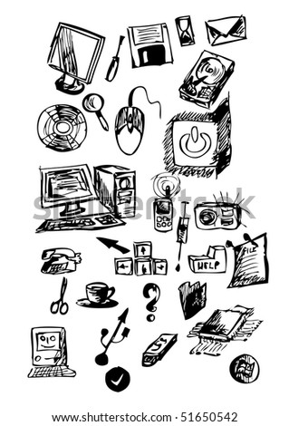 hand draw computer icons - stock vector