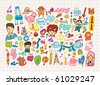 hand draw cute cartoon element,vector illustration - stock photo