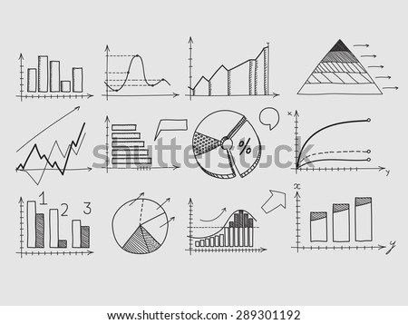 Hand draw doodle elements chart graph. Concept business finance analytics earnings statistics - stock vector