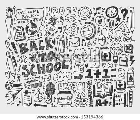 hand draw doodle school element - stock vector
